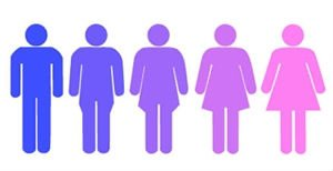 stilizzazione esseri umani di colori sfumati dal blu al rosa