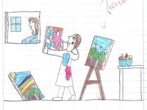disegno di un bambino (con identità di genere atipica) che sogna di fare il pittore